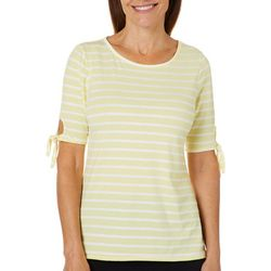 Coral Bay Womens Horizontal Stripe Tie Sleeve Top