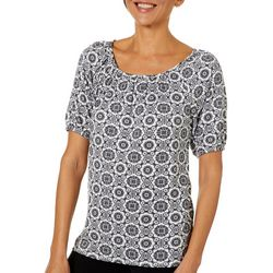 Coral Bay Womens Geometric Floral Peasant Top