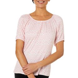 Coral Bay Womens Geometric Peasant Top
