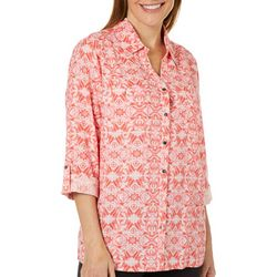 Coral Bay Womens Geo Medallion Button Down Top