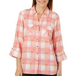 Coral Bay Womens Plaid Button Down Roll Tab Top