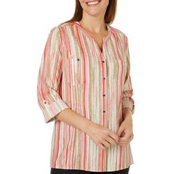 Coral Bay Womens Painted Stripe Roll Tab Top