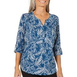 Coral Bay Womens Linen Leaf Print Roll Tab Top
