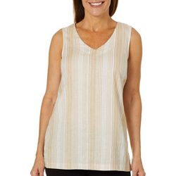 Coral Bay Womens Striped Linen Sleeveless Top