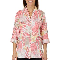 Coral Bay Womens Linen Tropical Palm Roll Tab Top