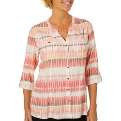 Coral Bay Womens Linen Geometric Striped Roll Tab Top