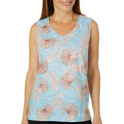 Coral Bay Womens Tropical Fan Print Sleeveless Top