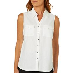 Coral Bay Womens Solid Button Down Sleeveless Top