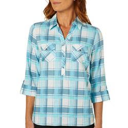 Coral Bay Womens Plaid Button Placket Roll Tab Top