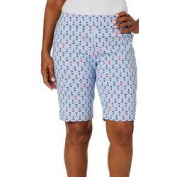 Coral Bay Womens Millennium Striped Anchor Bermuda Shorts