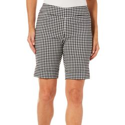 Coral Bay Womens Millennium Gingham Print Bermuda Shorts