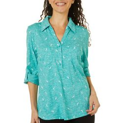 Coral Bay Womens Seahorse Space Dye Elbow Sleeve Top