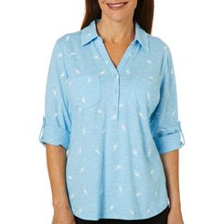 Coral Bay Womens Tropical Drink Space Dye Elbow Sleeve Top
