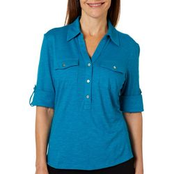 Coral Bay Womens Solid Buttoned Short Sleeve Top