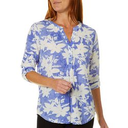 Coral Bay Womens Floral Roll Tab Pop Over Top