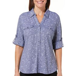 Coral Bay Womens Heathered Nautical Roll Tab Top