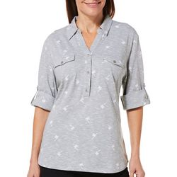 Coral Bay Womens Heathered Palm Tree Roll Tab Top