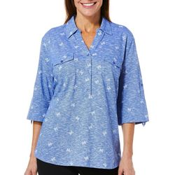 Coral Bay Womens Heathered Butterfly Roll Tab Top