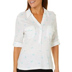 Coral Bay Womens Butterfly Roll Tab Top