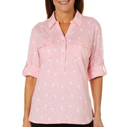 Coral Bay Womens Heathered Flamingo Roll Tab Top