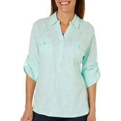 Coral Bay Womens Heathered Coastal Print Roll Tab Top