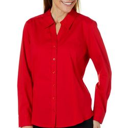 Coral Bay Womens Textured Panel Button Down Top