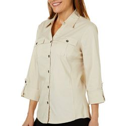 Coral Bay Womens Knit To Fit Button Down
