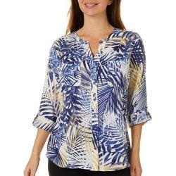 Coral Bay Womens Tropical Palm Print Top