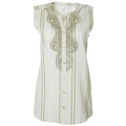Coral Bay Womens Striped Crochet Detail Sleeveless Top
