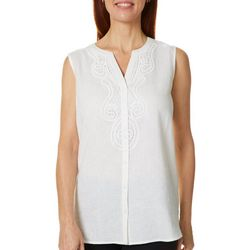Coral Bay Womens Solid Crochet Detail Sleeveless Top