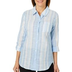 Coral Bay Womens Vertical Striped Roll Tab Top
