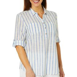 Coral Bay Womens Glitter Striped Roll Tab Top