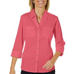 Coral Bay Womens Solid Roll Tab Button Down