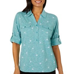 Coral Bay Womens Palm Tree Space Dye Elbow Sleeve Top