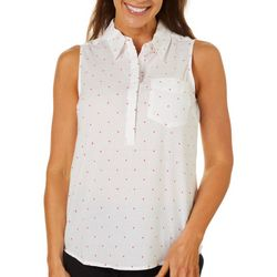 Coral Bay Womens Button Down Knit To Fit Dot Sleeveless Top