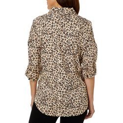 Coral Bay Womens Leopard Print Button Down Top