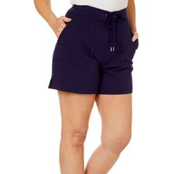 Coral Bay Womens Solid French Terry Drawstring Shorts