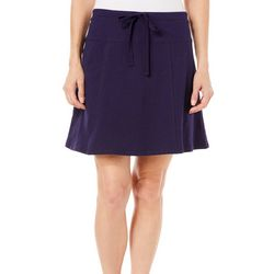 Coral Bay Womens Solid French Terry Drawstring Skort