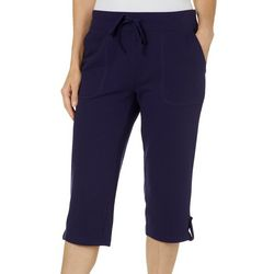 Coral Bay Womens Solid Tab Hem Pull On Capris