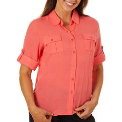 Coral Bay Womens Solid Button Down Slub Top