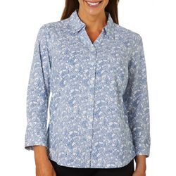 Coral Bay Womens Floral Print Knit To Fit Button Down Top