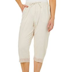 Coral Bay Womens Linen Pull On Crochet Trim Capris
