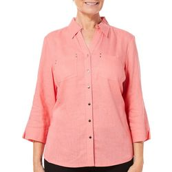 Coral Bay Womens Linen Solid Button Down Top