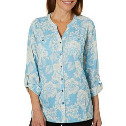 Coral Bay Womens Linen Blooming Floral Button Down Top