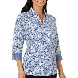 Coral Bay Womens Medallion Print Knit To Fit Button Down Top