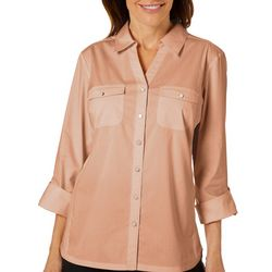 Coral Bay Womens Solid Button Down Pocket Top