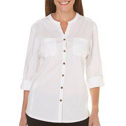 Coral Bay Womens Solid Button Down Roll Tab Top