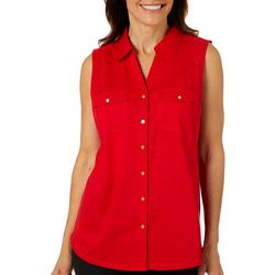 Coral Bay Womens Button Down Knit To Fit Sleeveless Top