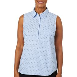 Coral Bay Womens Gingham Dot Button Down Sleeveless Top