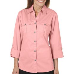 Coral Bay Womens Knit To Fit Button Down Top